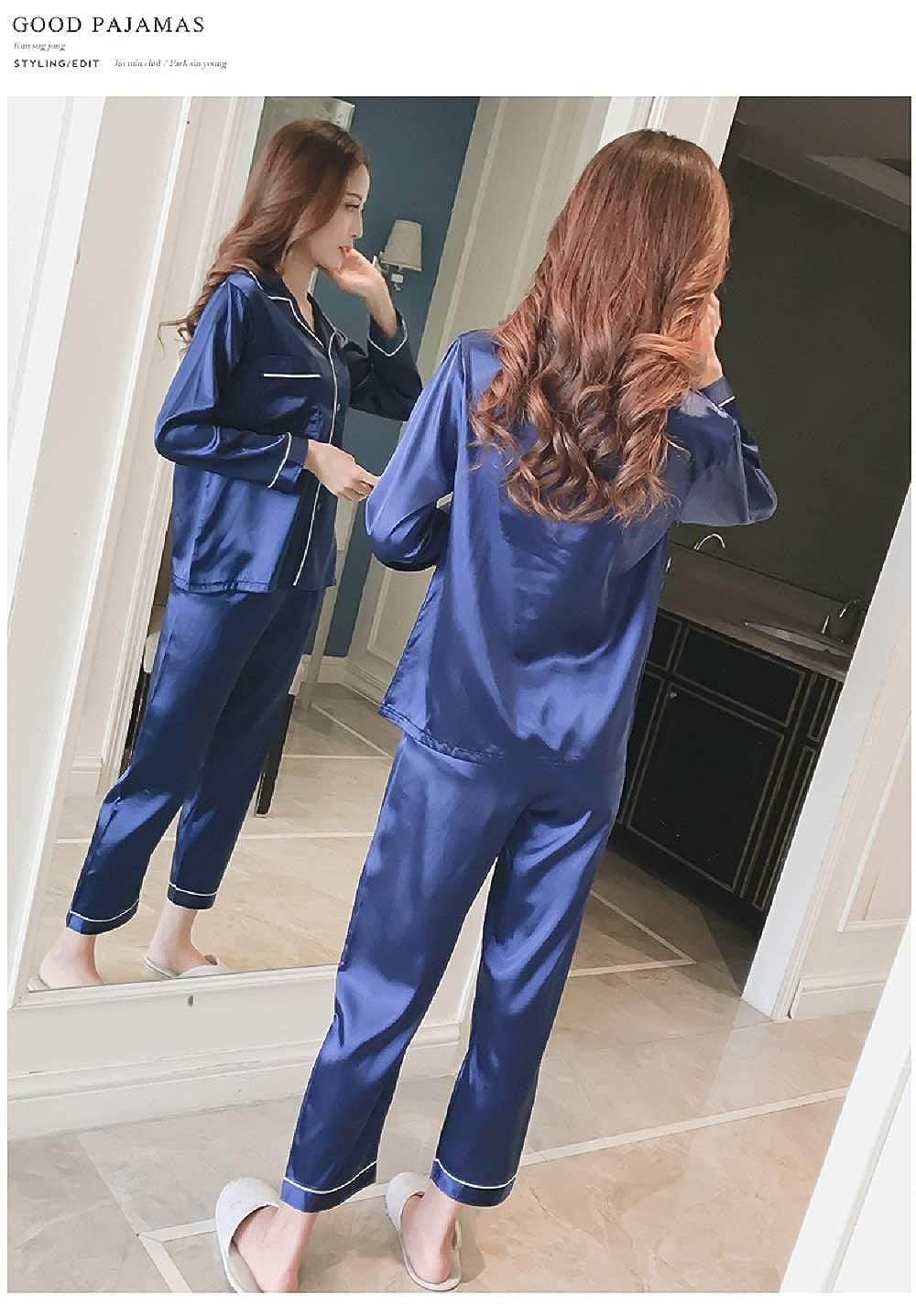 Damen Sommer//Fr/ühling Klassische Schlafanzug Satin V-Ausschnitt Zweiteiliges Pyjama Set