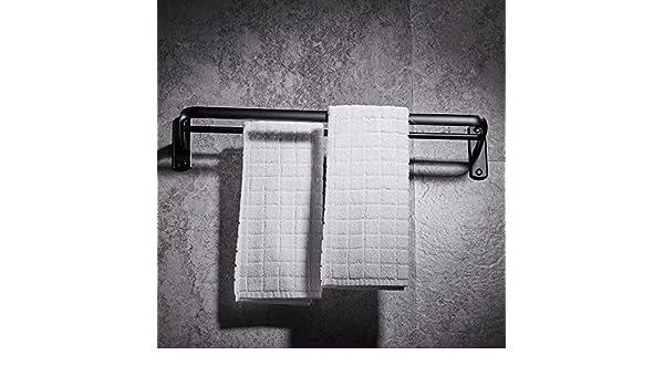 Sursy Espacio de aluminio toallero, negro óxido de aluminio doble polo marco, toalla de baño, almacenamiento, clasificación, barra de colgar: Amazon.es: ...