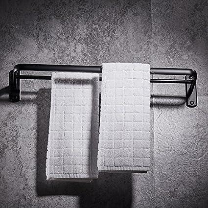 Sursy Espacio de aluminio toallero, negro óxido de aluminio doble polo marco, toalla de