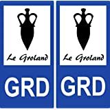 2 Stickers de plaque d'immatriculation auto GRD Le Groland - Armoiries