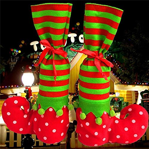 MAZIMARK--Santa Claus Elf Shoe Boot Suspenders Stocking Candy Gift Bag Christmas Socks W