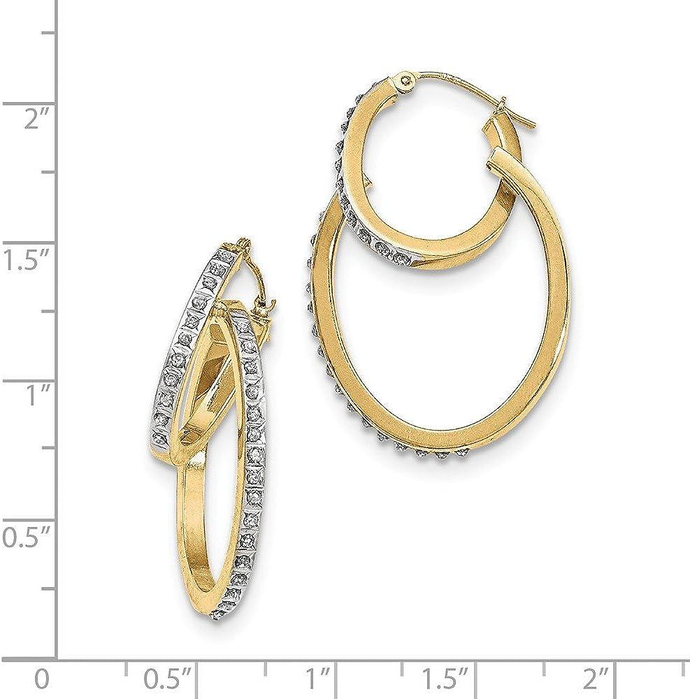 Kolczyki I Klipsy Ladies 14k Yellow Gold Diamond Polished Diamond Fascination Hinged Hoop Earrings Bizuteria I Zegarki Mayoshop Org