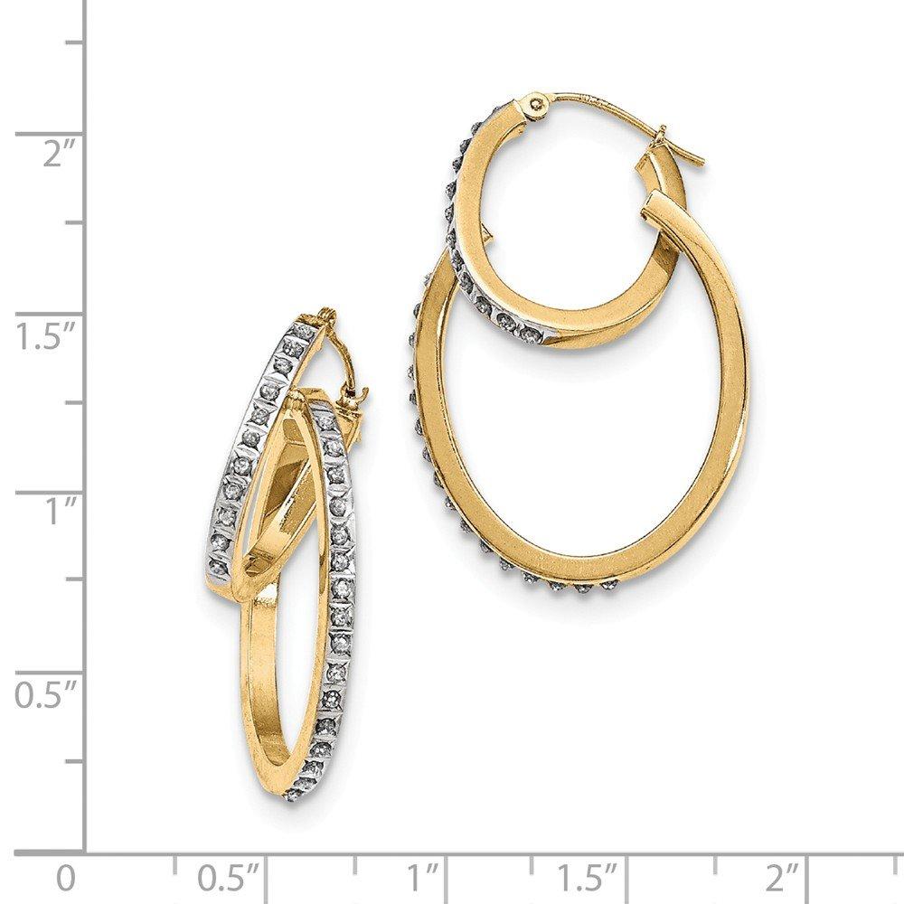 35mm x 23mm .01cttw Mia Diamonds 14k Yellow Gold Diamond Fascination Oval Hinged Double Hoop Earrings