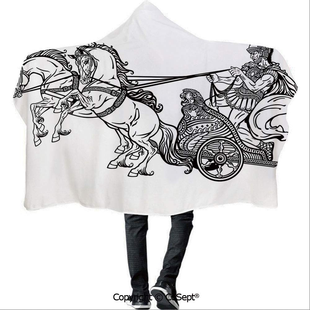 AmaUncle Wearable Hooded Blanket,Roman Warrior in a Chariot Pulled by Two Horses Historic Carriage Monochrome Decorative,for Adults and Children(59.05x78.74 inch),Black White