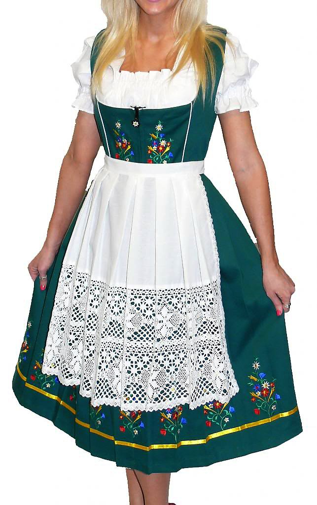 Dirndl Trachten Haus 3-Piece Long German Wear Party Oktoberfest Waitress Dress 14 44 Green