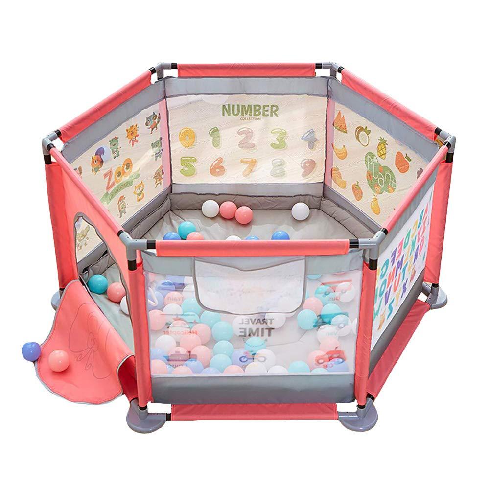 【即納】 ベビーフェンス Pink クロールマット、ベビー折りたたみ遊び場、幼児男の子女の子子供の遊び場、高さ65cmのポータブルベビーサークル (色 (色 Pink) : Pink) Pink B07MDP1TW2, 作業服 安全靴 安全帯のまもる君:e216cfb8 --- a0267596.xsph.ru