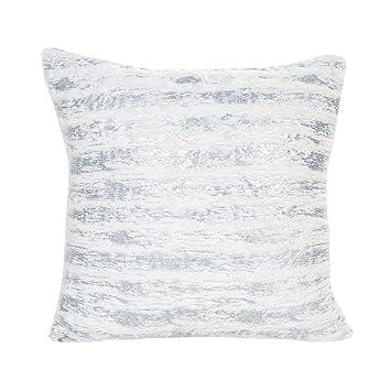 Tonpot Funda de Cojín para sofá, Cama, Silla (1 Unidad), Diseño Cuadrado, Plateado, 45 x 45cm