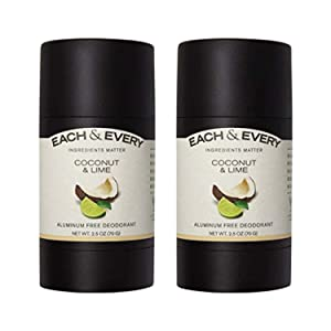 Each & Every 2-Pack Natural Aluminum-Free Deodorant for Sensitive Skin with Essential Oils, Plant-Based Packaging, Coconut & Lime, 2.5 Oz.