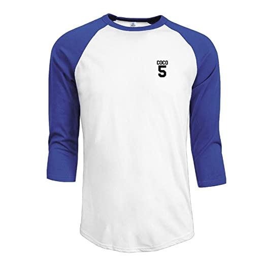 bfe0264aa POUDBDH Men's 3/4 Sleeve 100% Cotton Baseball Coco 5 White T Shirt Blue