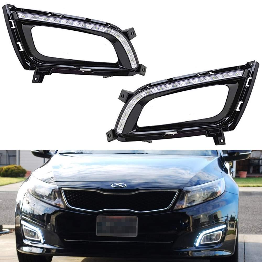 iJDMTOY Xenon White LED Daytime Running Lights For 2014-2015 Kia Optima K5, OEM Fit Kspeed Style DRL Bezels Powered by 12 Pieces High Power LED Lights iJDMTOY Auto Accessories LH RH Driver Passenger Side Housing Assy