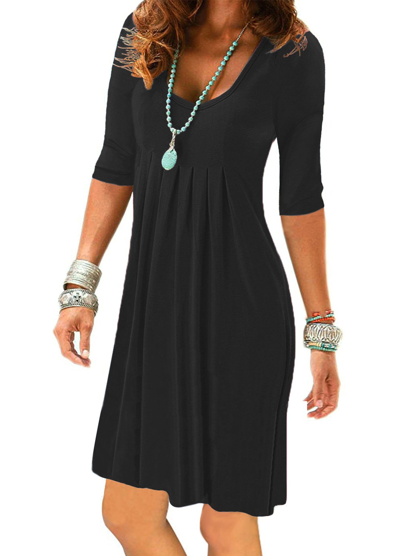 Women's Black Half Sleeve Empire Waist Plain