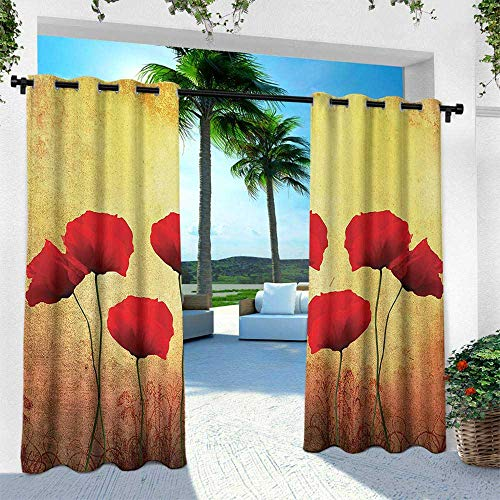 (Hengshu Poppy, Outdoor- Free Standing Outdoor Privacy Curtain,Poppies on Old Aged Retro Featured Backdrop Design Past Days Drama Petals, W120 x L108 Inch, Scarlet Light Yellow)