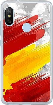 BJJ SHOP Funda Transparente para [ Xiaomi Mi A2 Lite/Redmi 6 Pro ], Carcasa de Silicona Flexible TPU, diseño: Bandera españa, Pintura de brocha Sobre Fondo Abstracto: Amazon.es: Electrónica