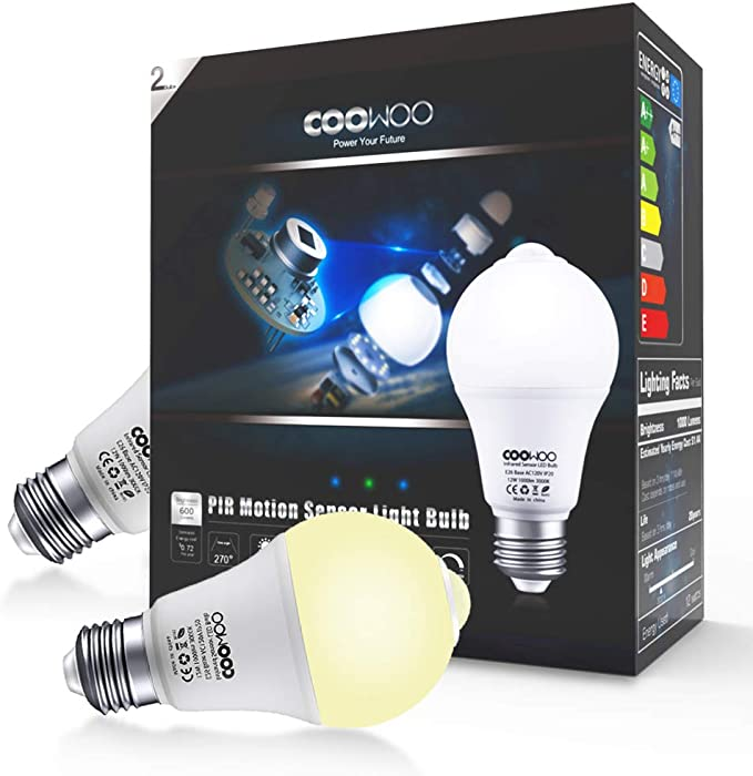 Cool White 6000K 600Lumens Indoor Outdoor LED Bulb Motion Sensor Light Bulb,7W Dusk to Dawn Bulb with Built-in Motion Detector Smart Security Night Light