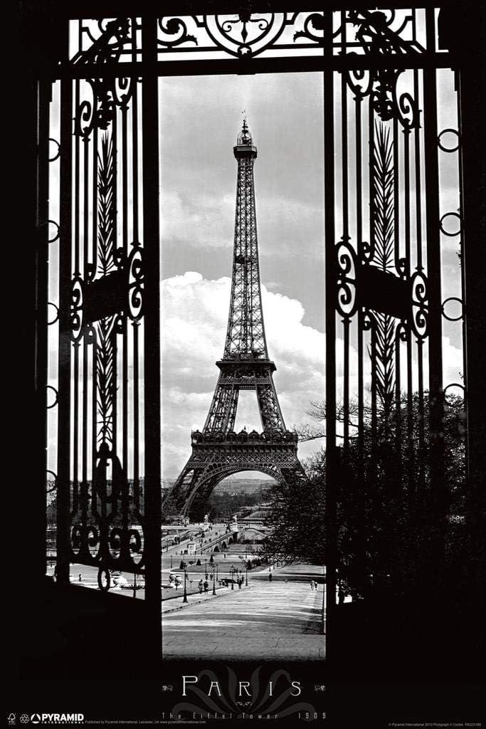 Pyramid America Eiffel Tower Through The Gates Paris France Romantic Landmark 1909 Photograph Photo Laminated Dry Erase Sign Poster 12x18