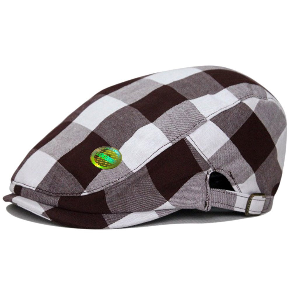 LOCOMO Checker Check Plaid Tartan Newsboy Flat Cap FFH311BRN by LOCOMO Hats