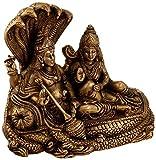 Idol Collections Lord Vishnu Lakshmi Sitting on Seshnag Brass Statue, Brown