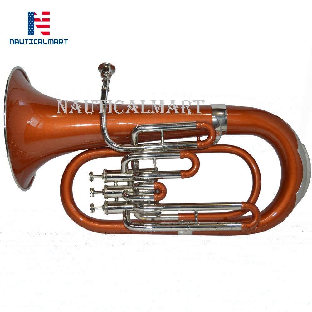 NauticalMart Bb Pitch Euphonium Copper Brass Color 3 Valve With Free Case