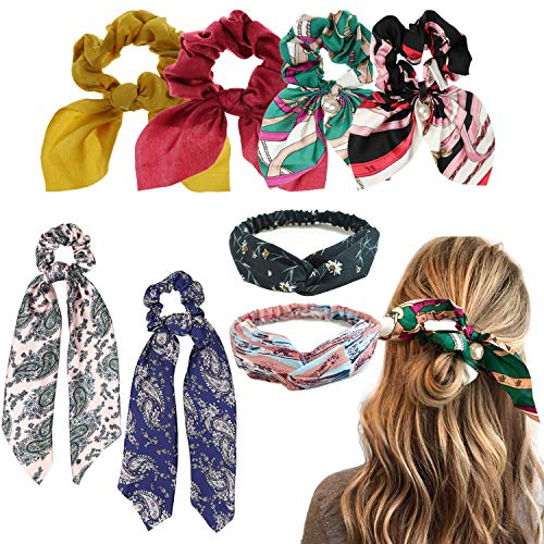 DRESHOW Hair Srunchies Scarves for Hair Women Elastic Chiffon Ponytail Holder Hair Ties Pack 6/8