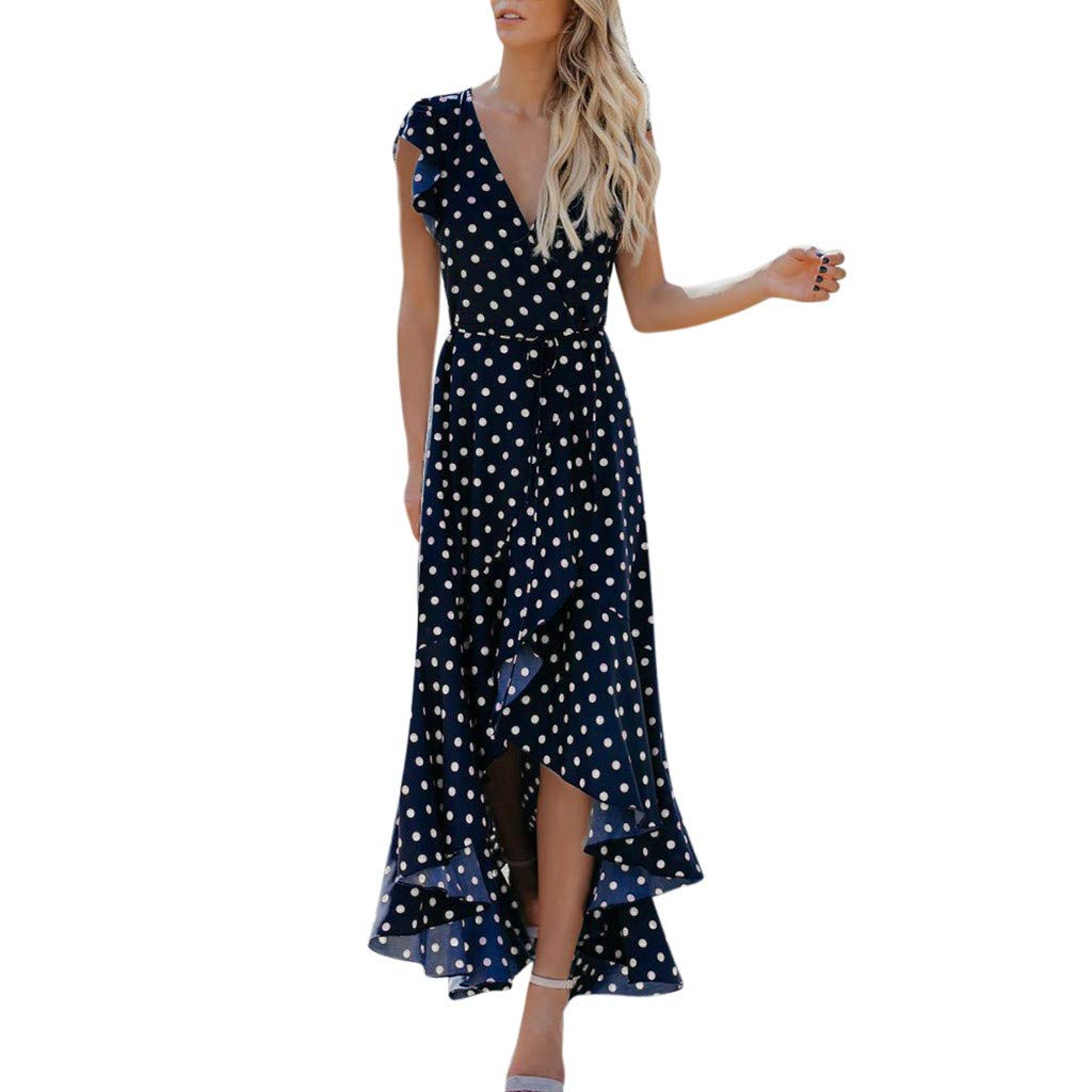 Fanyunhan Womens Dots Boho Mini Dress Summer Beach Mermaid Sundrss V-Neck Maxi Dress Blue