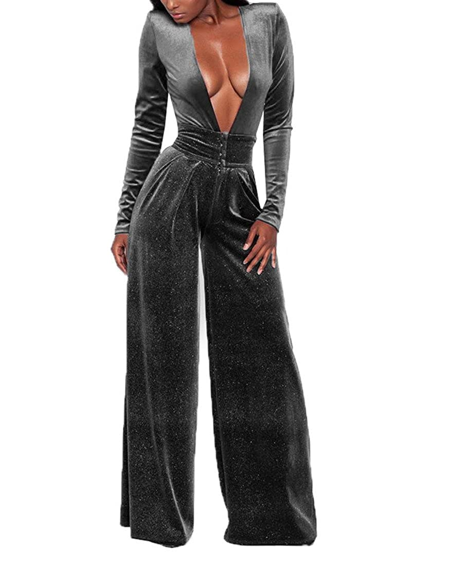 c6eb0b43418 Amazon.com  Joseph Costume Women Elegant Velvet Deep V-Neck Flare Bell  Bottom Long Pants Party Jumpsuit Romper Clubwear  Clothing