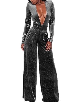 5a234e282183 Women Elegant Velvet Deep V-Neck Flare Bell Bottom Long Pants Party Jumpsuit  Romper Clubwear