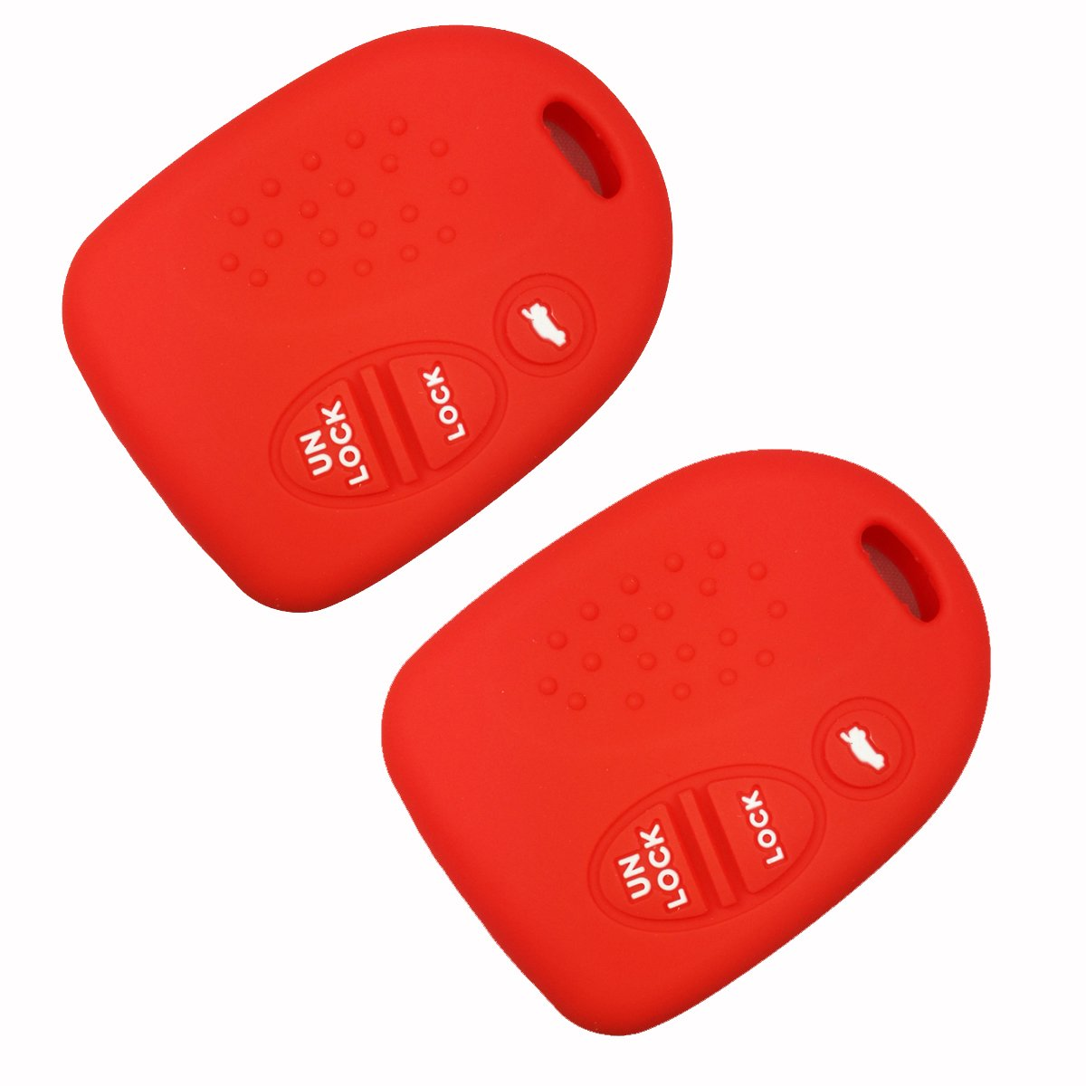 Red 3 Buttons Silicone Key Fob Case Cover Holder fit for 2004-2006 Pontiac GTO