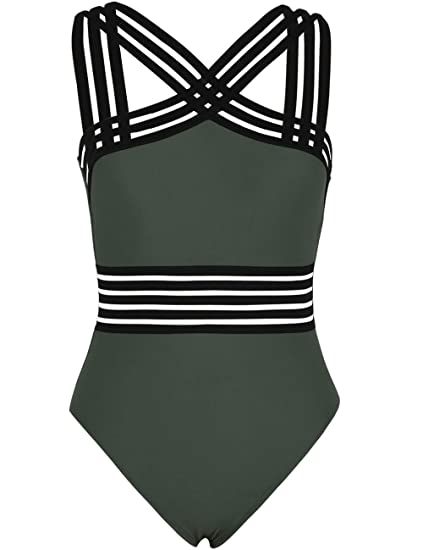 199a4650b2 Hilor Women's One Piece Swimwear Front Crossover Swimsuits Hollow Bathing  Suits Monokinis - Green - Medium
