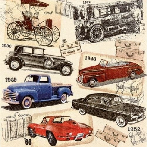 4 x Paper Napkins - Classic Cars - Ideal for Decoupage / Napkin Art PPD