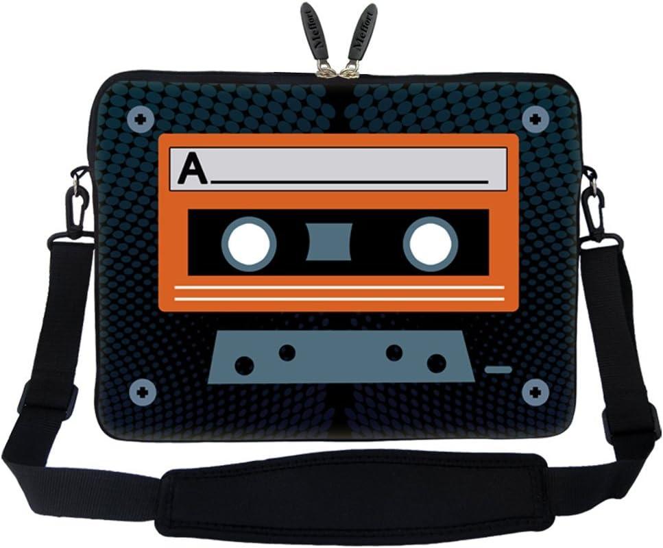 Meffort Inc 15 15.6 inch Neoprene Laptop Sleeve Bag Carrying Case with Hidden Handle and Adjustable Shoulder Strap - Cassette Tape Design