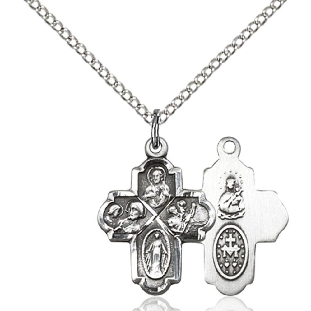 Bonyak Jewelry Sterling Silver 4-Way Pendant 3//4 x 1//2 inches with Sterling Silver Lite Curb Chain