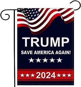Trump 2024 Garden Flag Save America Again Vertical Double Sided 12.5x18 Inch Burlap Rustic Farmhouse Yard Outdoor Flag Décor