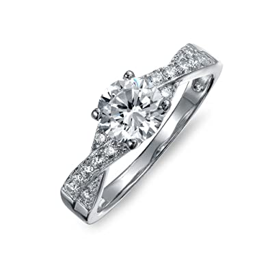 76d37c182 Bling Jewelry 925 Silver 1.2CT CZ Pave Solitaire Engagement Ring with Side  Stones, Size