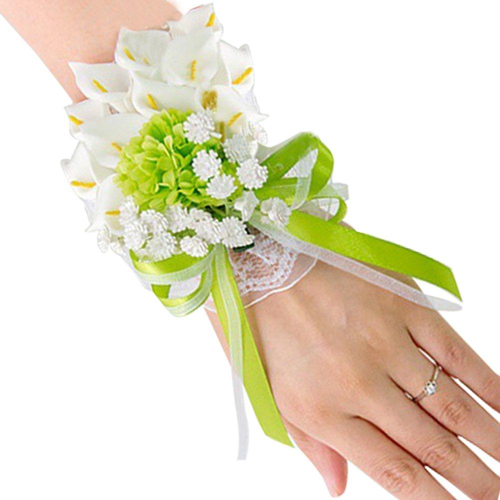 Topdo Adult Wrist Corsage Sen Fresh White Green Calla Brooch Wrist Flower Groom Bride Groomsmen Bridesmaid