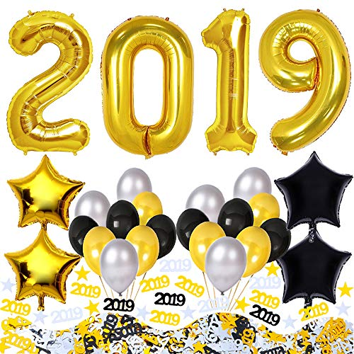 2019 Balloons Confetti Kit, 2019 New Years Eve Party Supplies, Graduation Decorations, Party Decorations for Birthday, Bachelorette, Weddings. Gold Black Silver