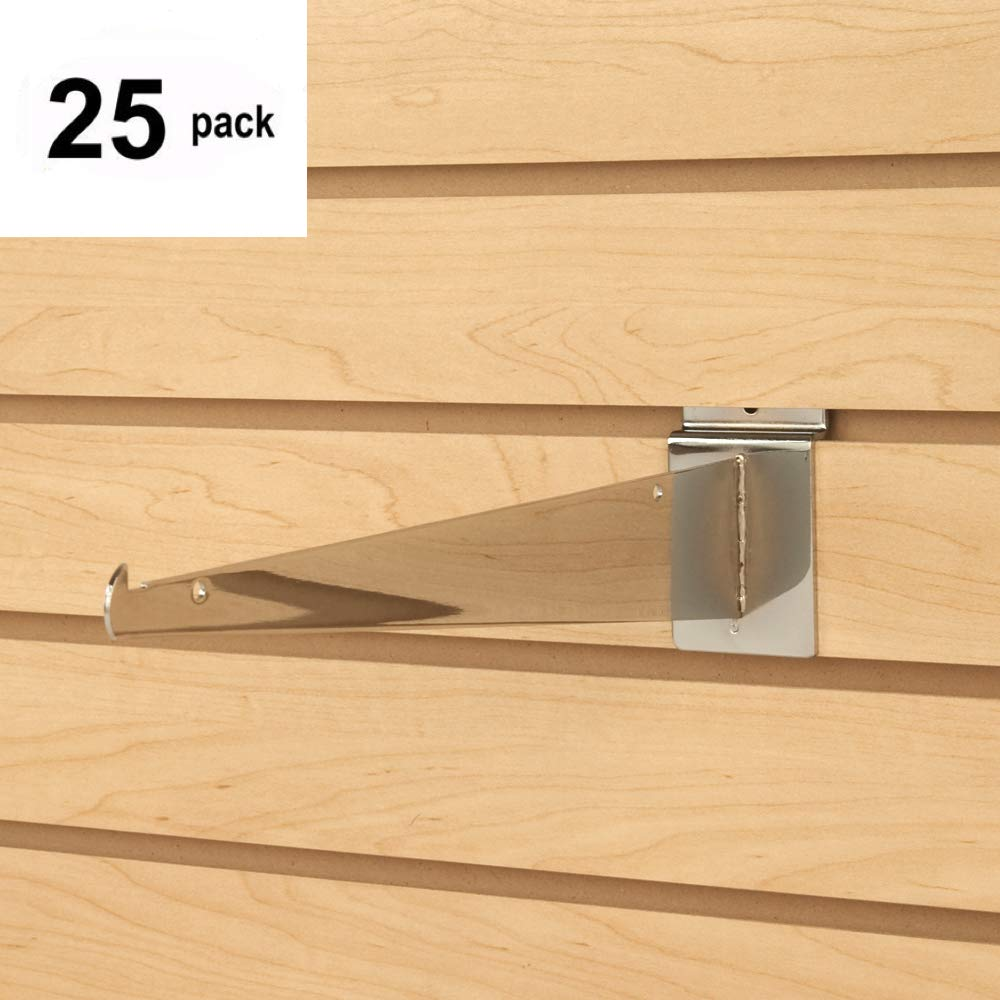 Only Hangers Shelf Brackets for Slatwall, 12'' Chrome Slatwall Brackets sold in (Pack of 25) - Fits all Slatwall Panels