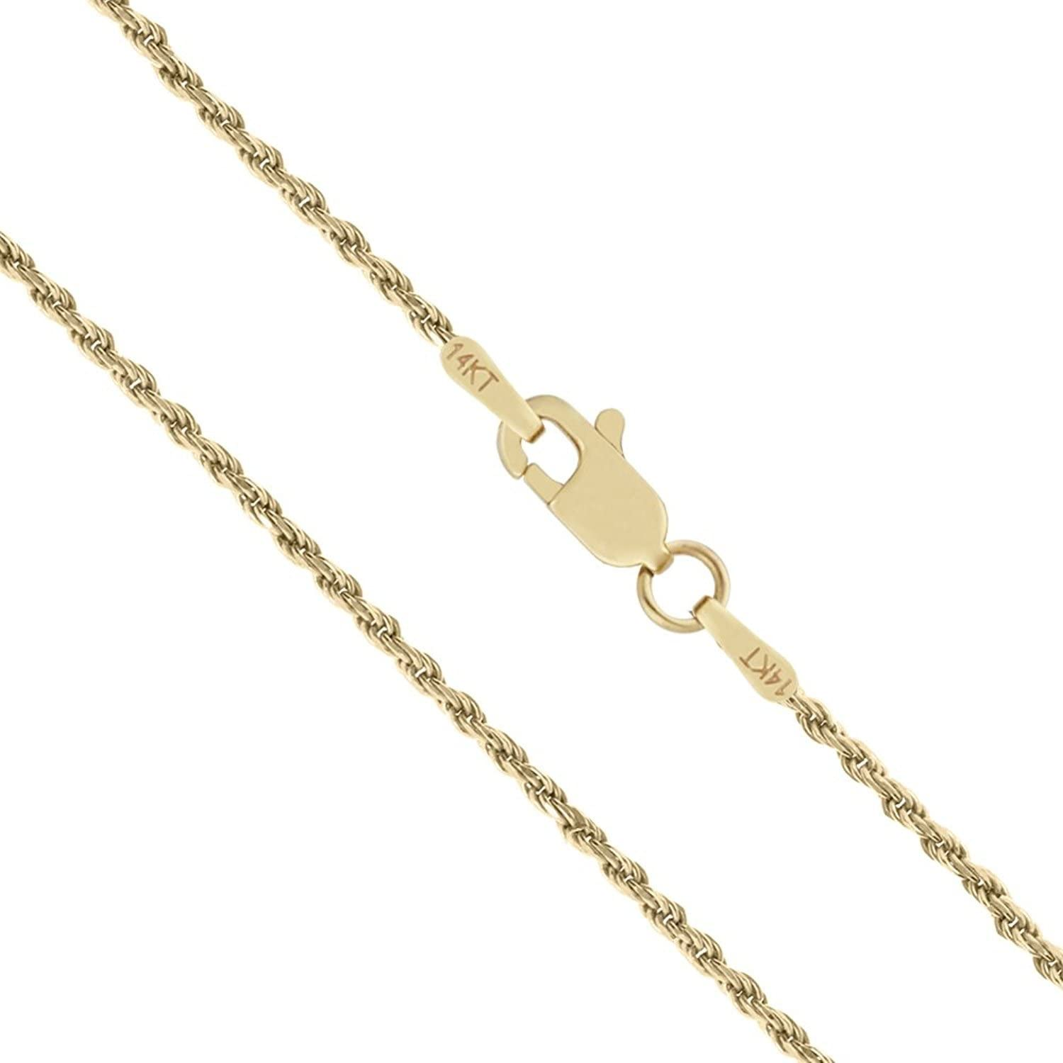 "Length: 16/""-24 MCS Jewelry 14k Yellow Gold Solid Diamond Cut Rope Chain Necklace 1.25 mm"