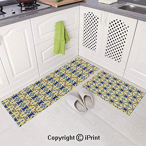 2 Piece Non-Slip Kitchen Mat,Kitchen Rugs and Runner Set(15