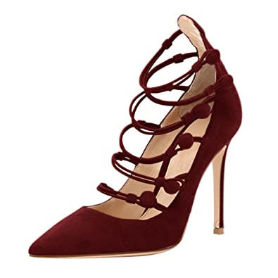 93e6eb69d2d Onlymaker Women s Sexy Pointed-toe Lace Up Strappy High Heel Stiletto Pumps  Wine Red Suede