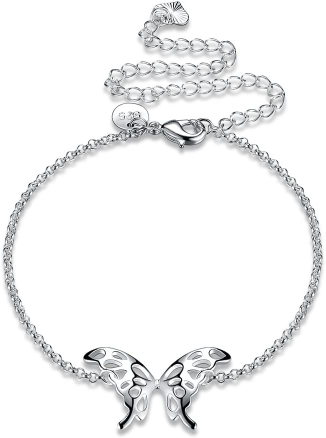 Goldenchen Fashion Jewelry 925 Sterling Silver Butterfly Wings Adjustable Chain Anklet