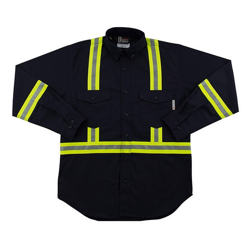 Flame Resistant FR Reflective Button Shirt (5XL, Navy)