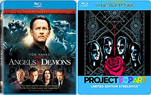 Tom Hanks The Da Vinci Code Steelbook [Blu-ray] & Angels and Demons (2-Disc Theatrical & Extended Edition) Double Feature movie set