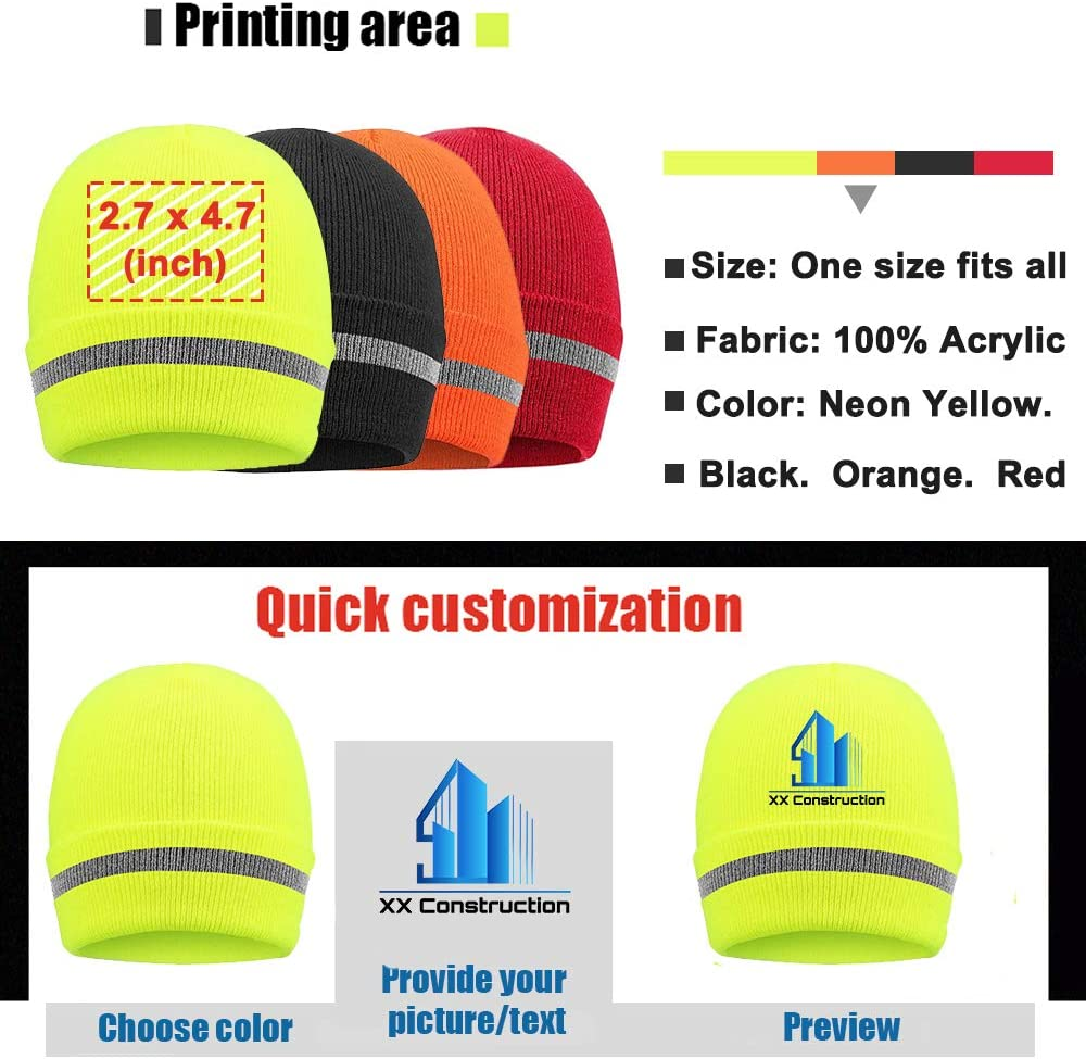 "NEW Superior 12/"" BEANIE Acrylic Knit CAP **Florescent Safety Yellow** Ski"