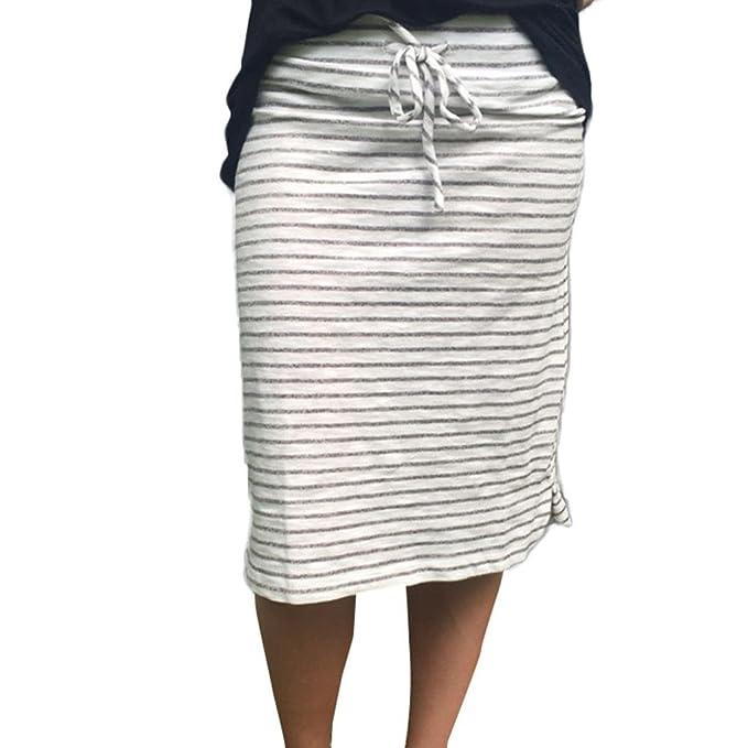 Sannysis Mujer Raya Falda Verano Elástico Falda corta Mujeres Vacaciones Eventos Casual Ceremonia Vestidos de Verano Mini Corto Hombro Vestido de ...