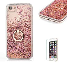 "iPhone 6 Cover,iPhone 6S Glitter Case,Funyye New Creative Floating Water Liquid Small Love Hearts Design Luxury Sparkly Bling Glitter Back Hard Shell Protective Case Cover With Ring Holder Protective Case for iPhone 6S/6 4.7""-Rose Gold"