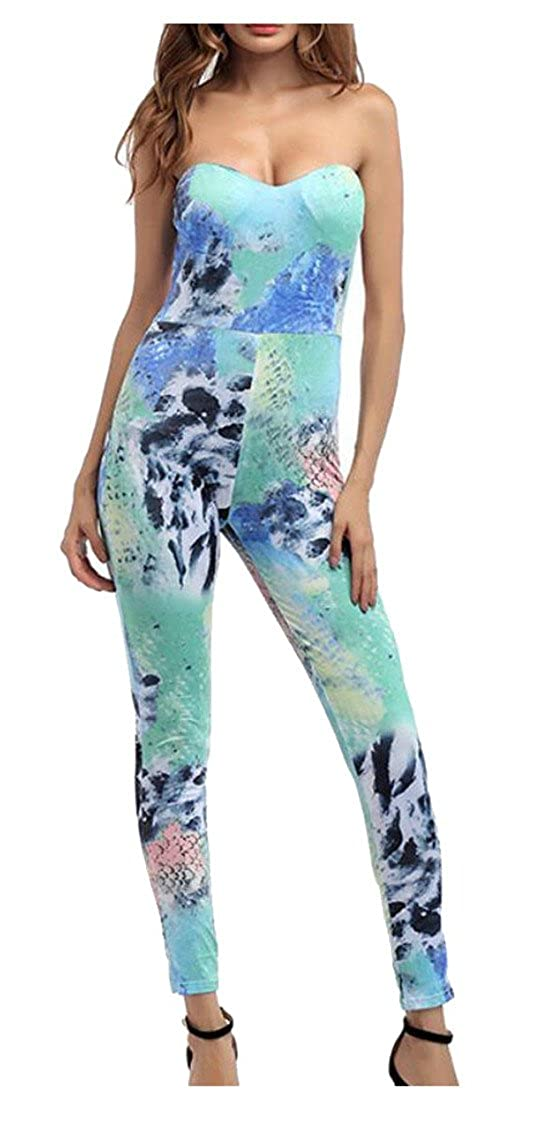 xiaohuoban Womens Tube Printed High Waist Stretchy Plus-Size Jumpsuit