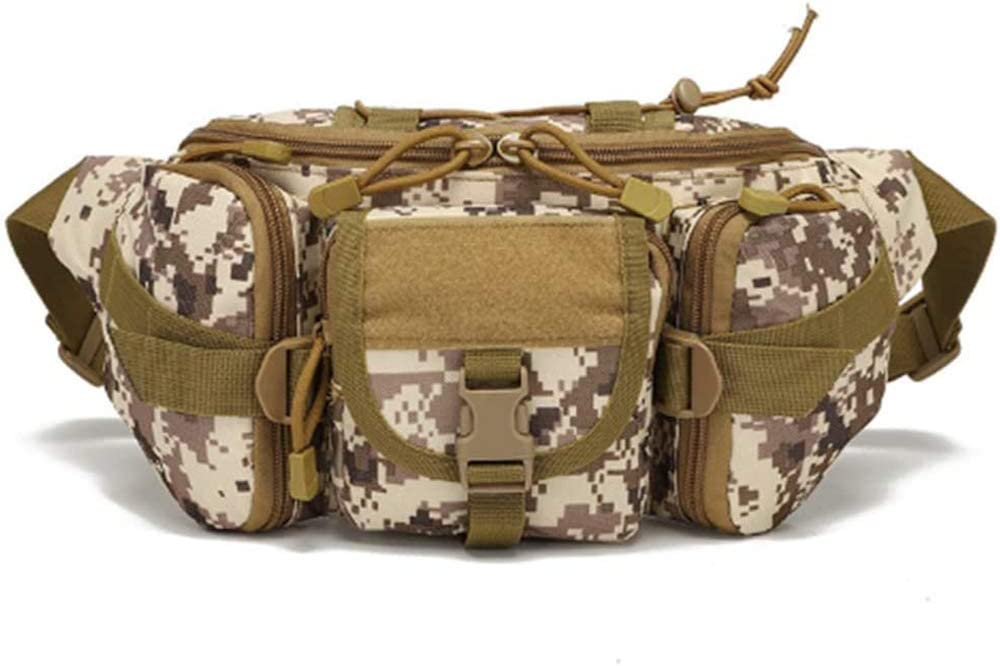 BASOYO Riñonera táctica de camuflaje, bolsa de viaje, bolsa de nailon suave para correr, 2 bolsillos con cremallera + 2 bolsillos para cinturón