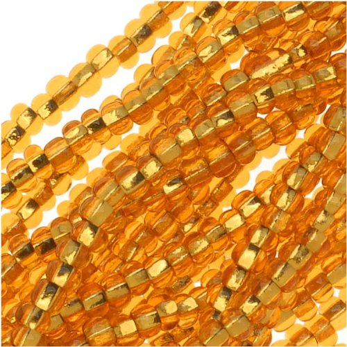 Czech Seed Beads 11/0 Amber Topaz Foil Lined (1 Hank/4000 Beads)