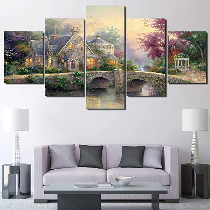 Liuzyu 5 Piece Canvas Prints Giclee Posters Prints Canvas Wall Art Hd Print Thomas Kinkade Village Scenery Painting Canvas Wall Art Picture Painting On Canvas A2 Framed Posters Prints