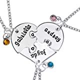 Hexawata Rhinestone Best Friends Sisters Engraved Split Heart Pendant Necklace for Birthday Gift